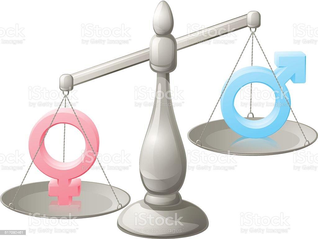 Man woman scales concept vector art illustration