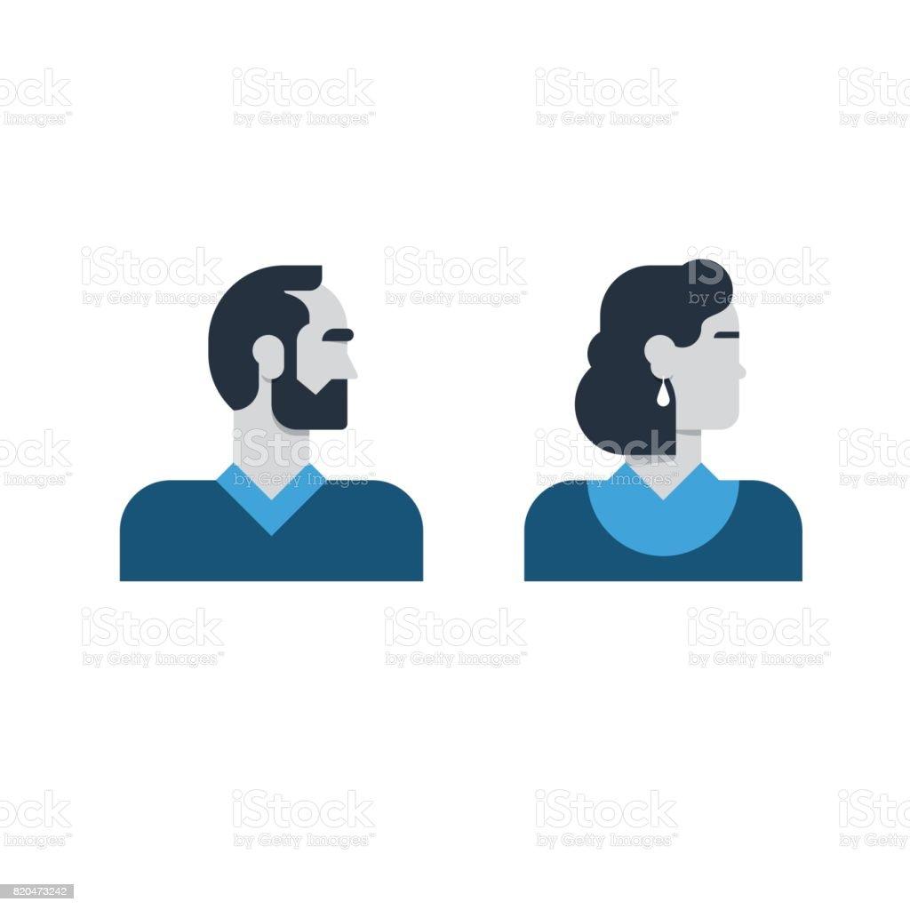 Man, woman side view, half face head, clerk service, teacher, office staff vector art illustration