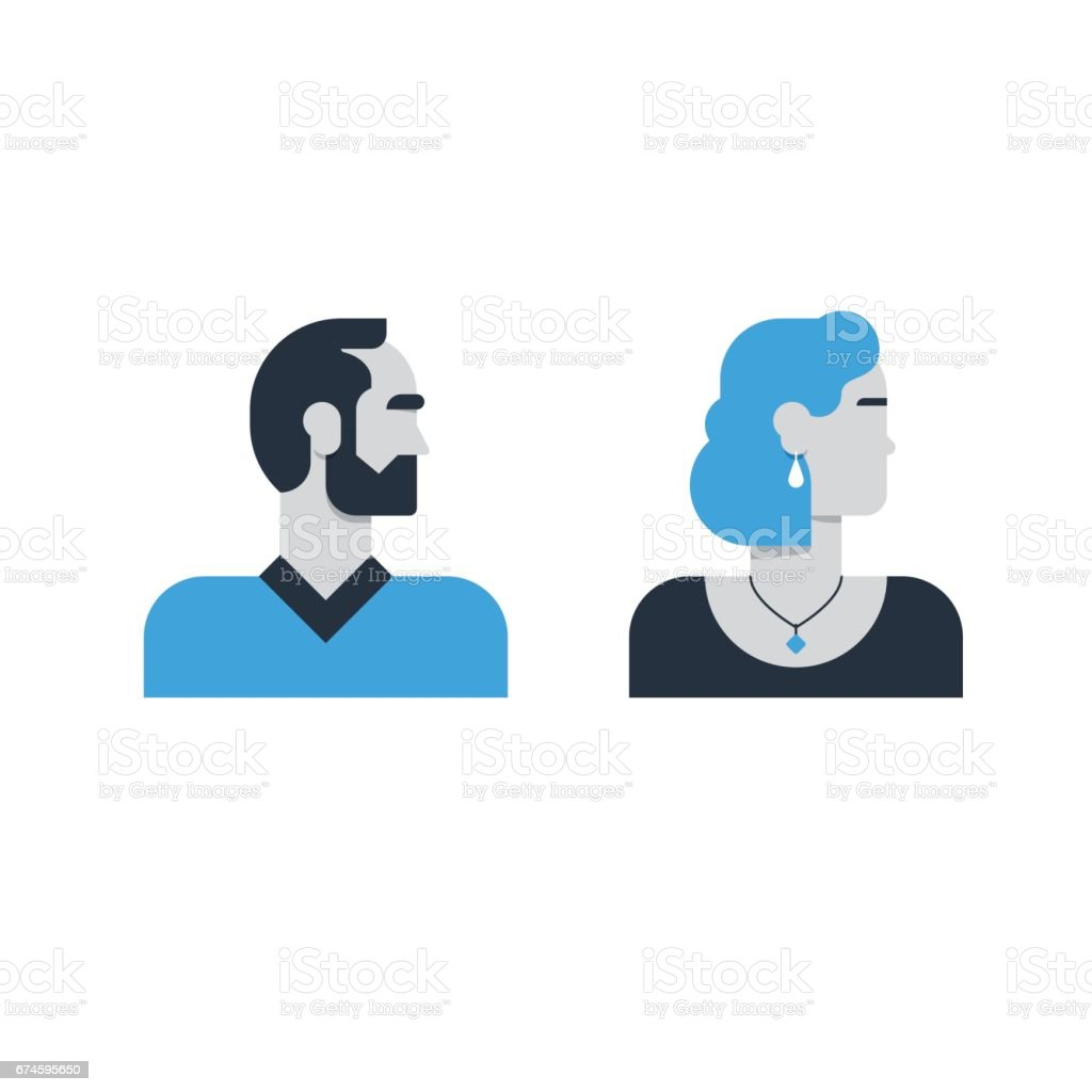 Man, woman side view, half face head, clerk service, techer, office staff vector art illustration