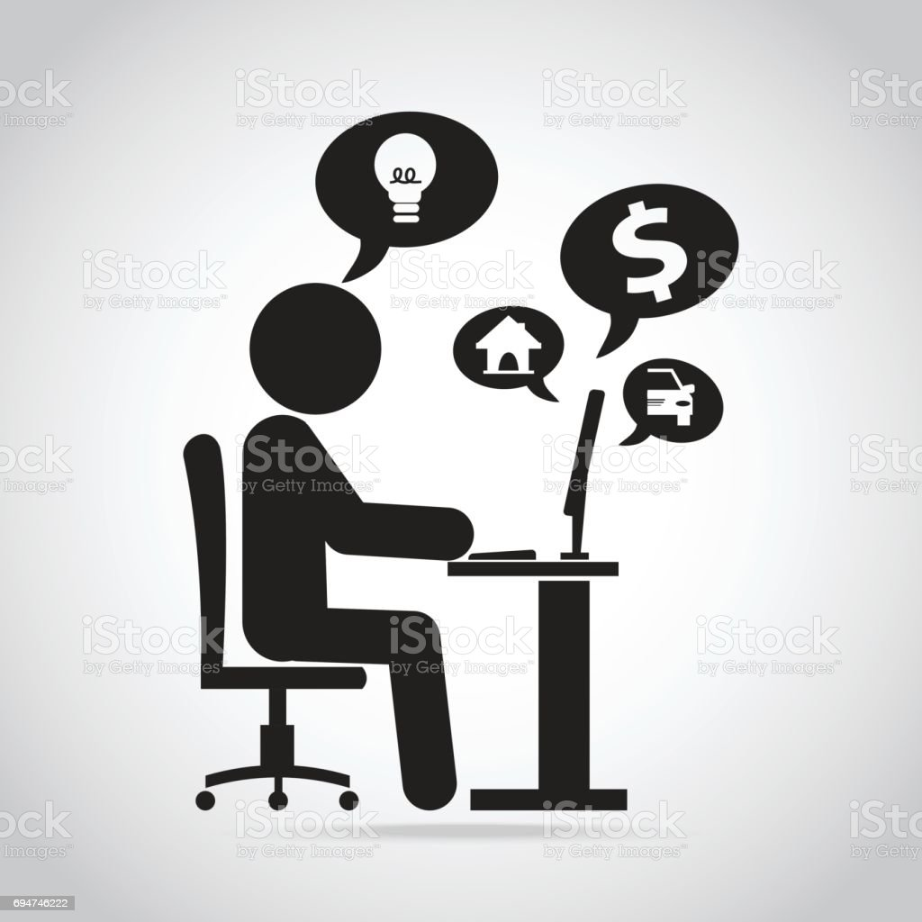 Man work with computer icon work make money online concept stock man work with computer icon work make money online concept royalty free stock vector biocorpaavc Images