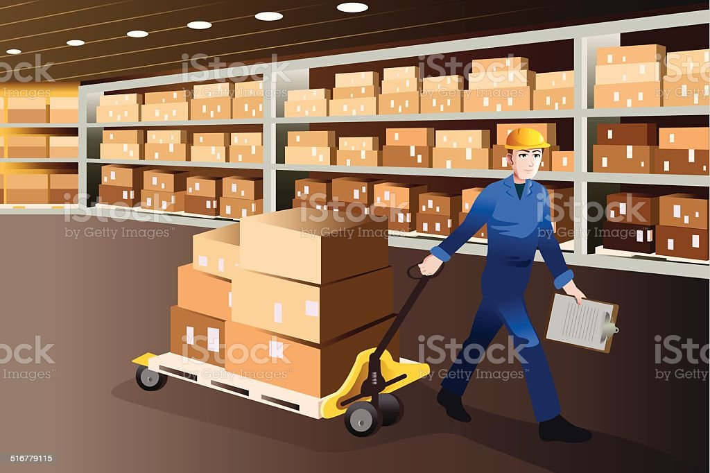 Man working in a warehouse vector art illustration