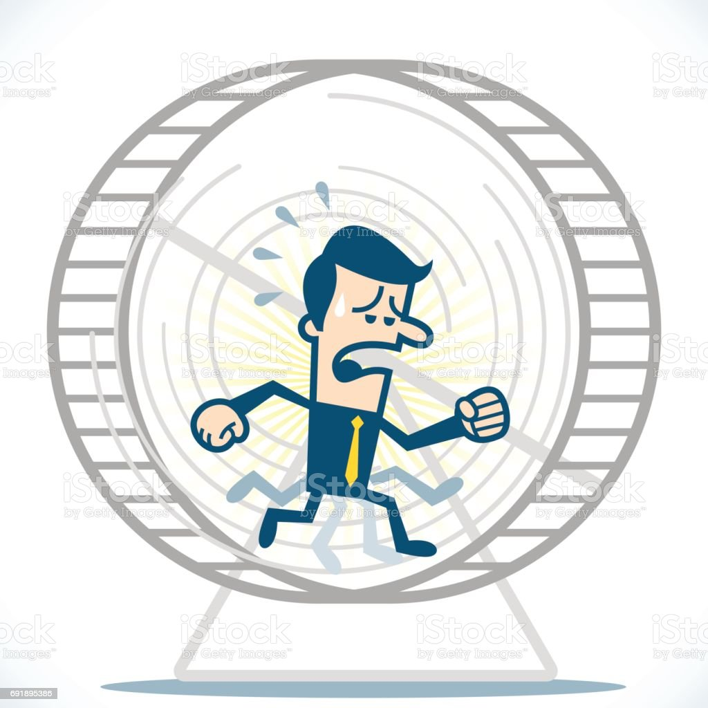 Man working on a hamster wheel vector art illustration
