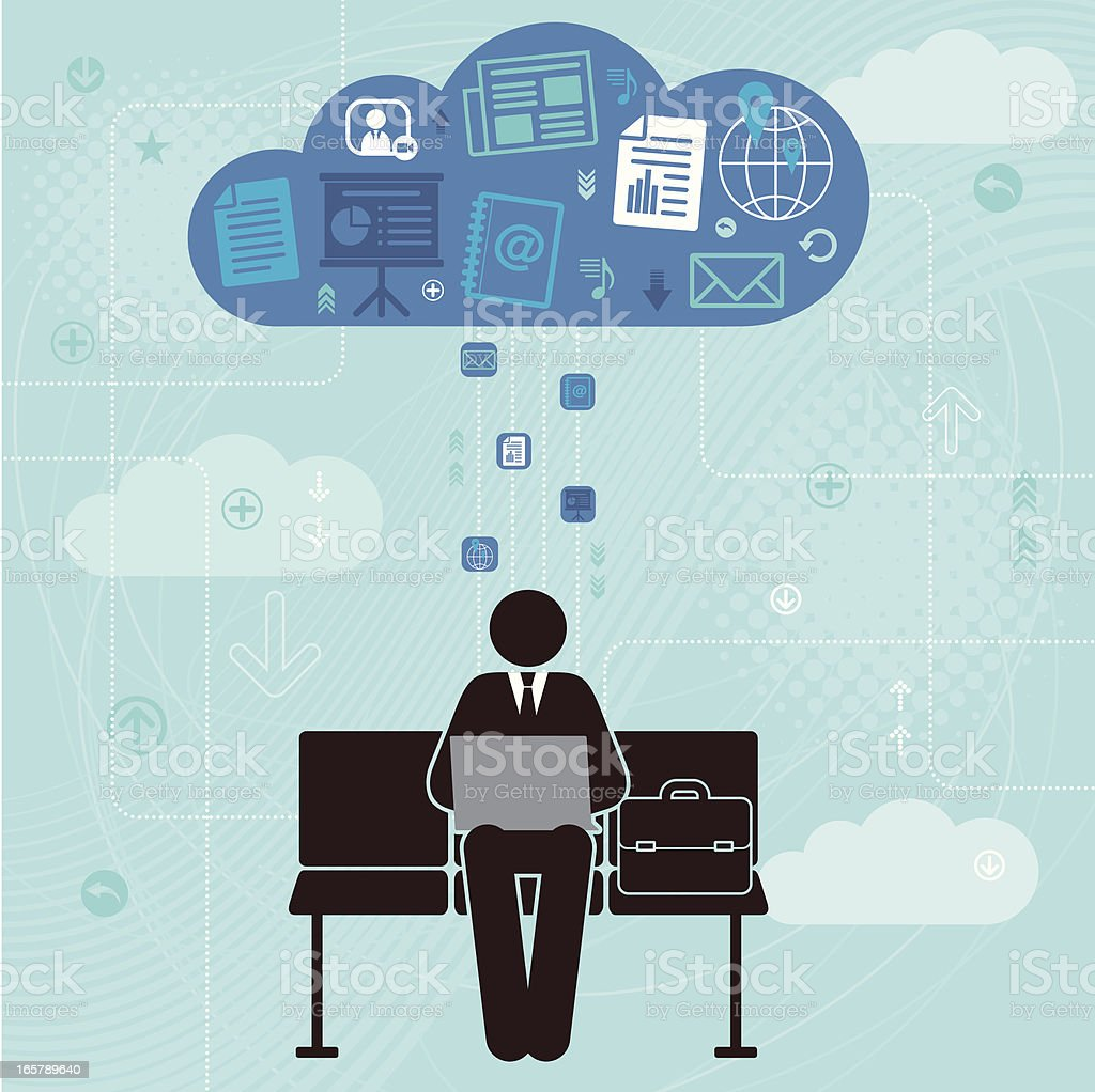 Man working on a laptop and cloud computing image vector art illustration