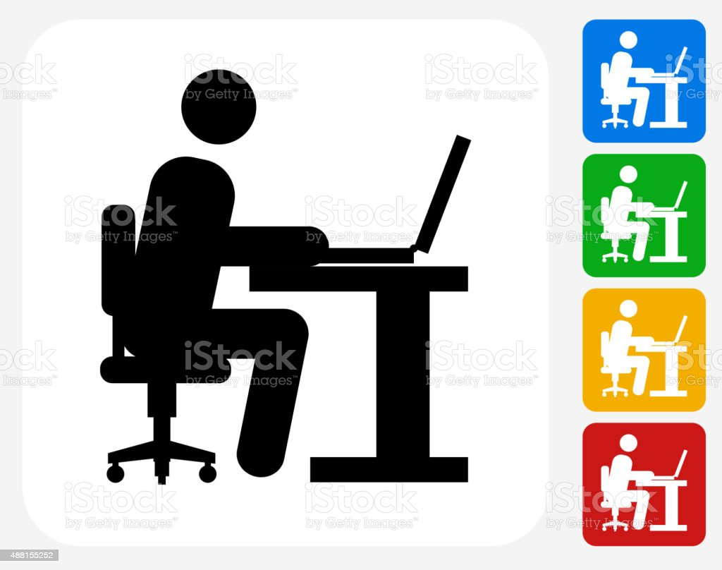 Man Working on Computer Icon Flat Graphic Design vector art illustration