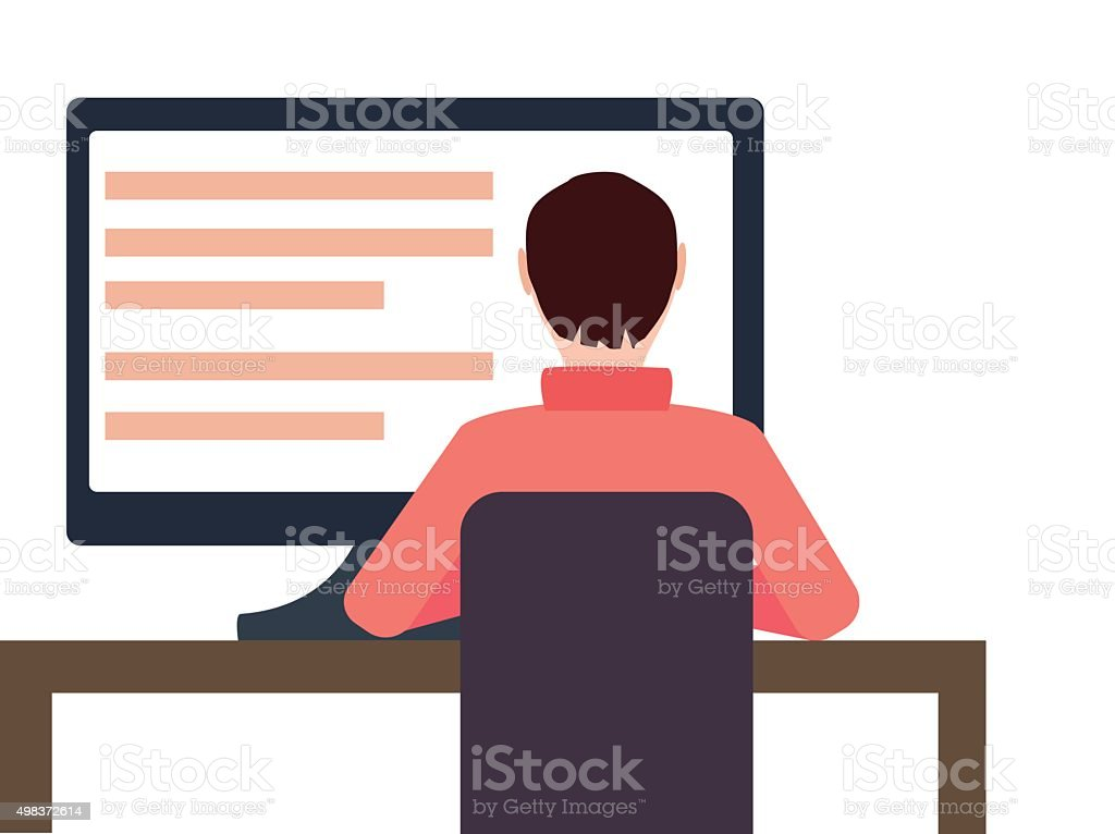Man Working On Desktop Computer. vector art illustration
