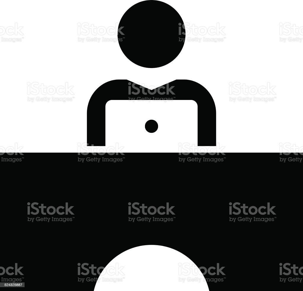 Man working on laptop icon vector art illustration