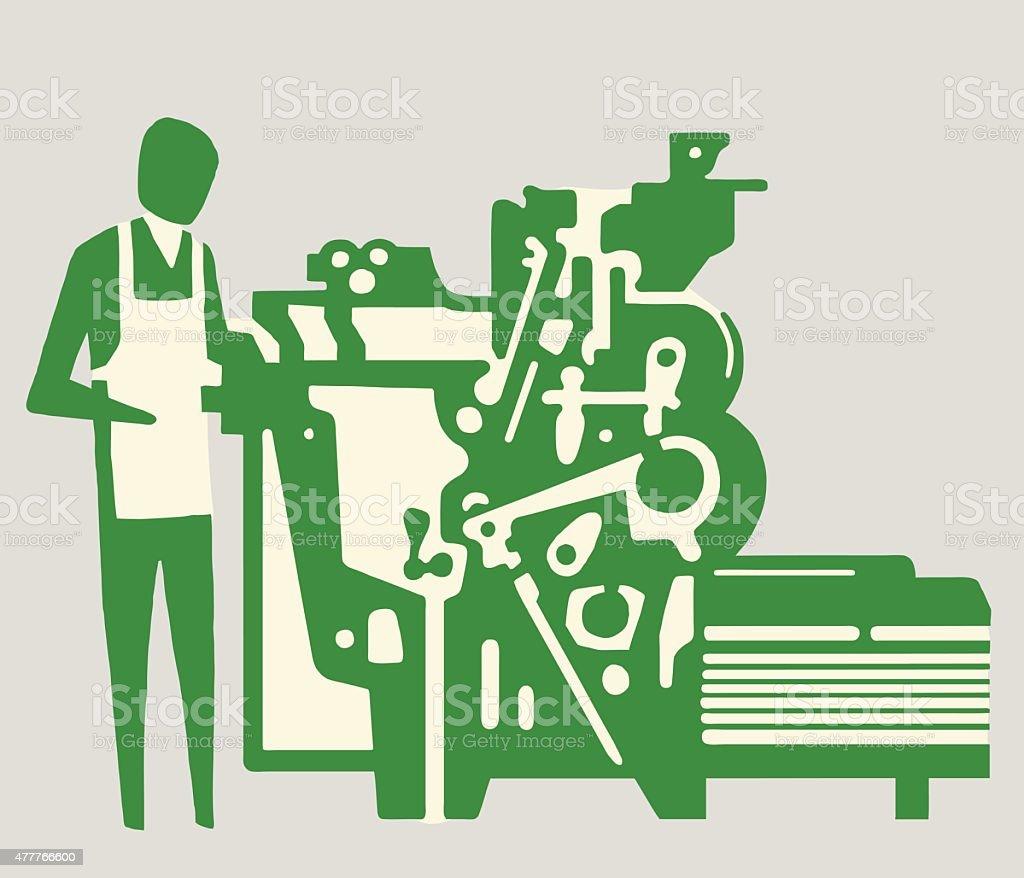 Man Working on Machine vector art illustration