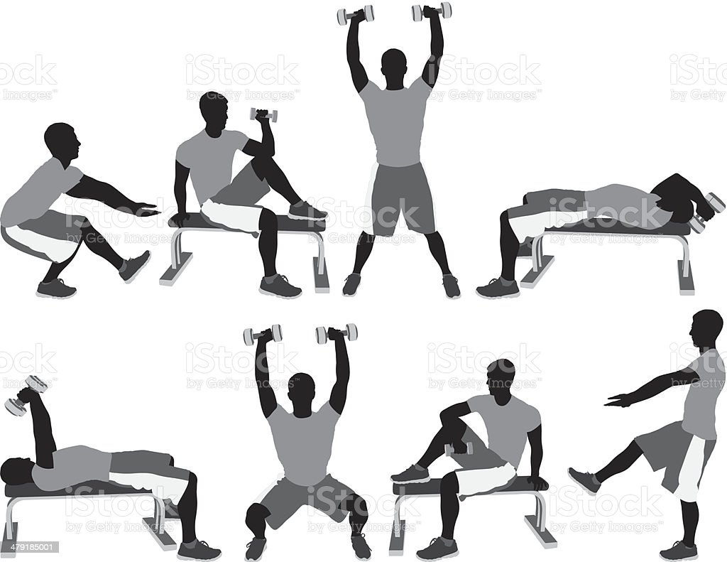 Man working out royalty-free stock vector art