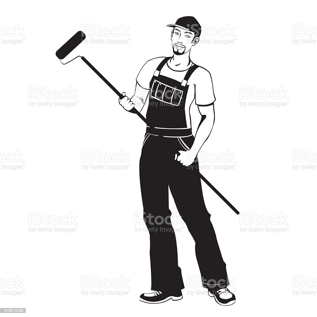 man working painter royalty-free stock vector art