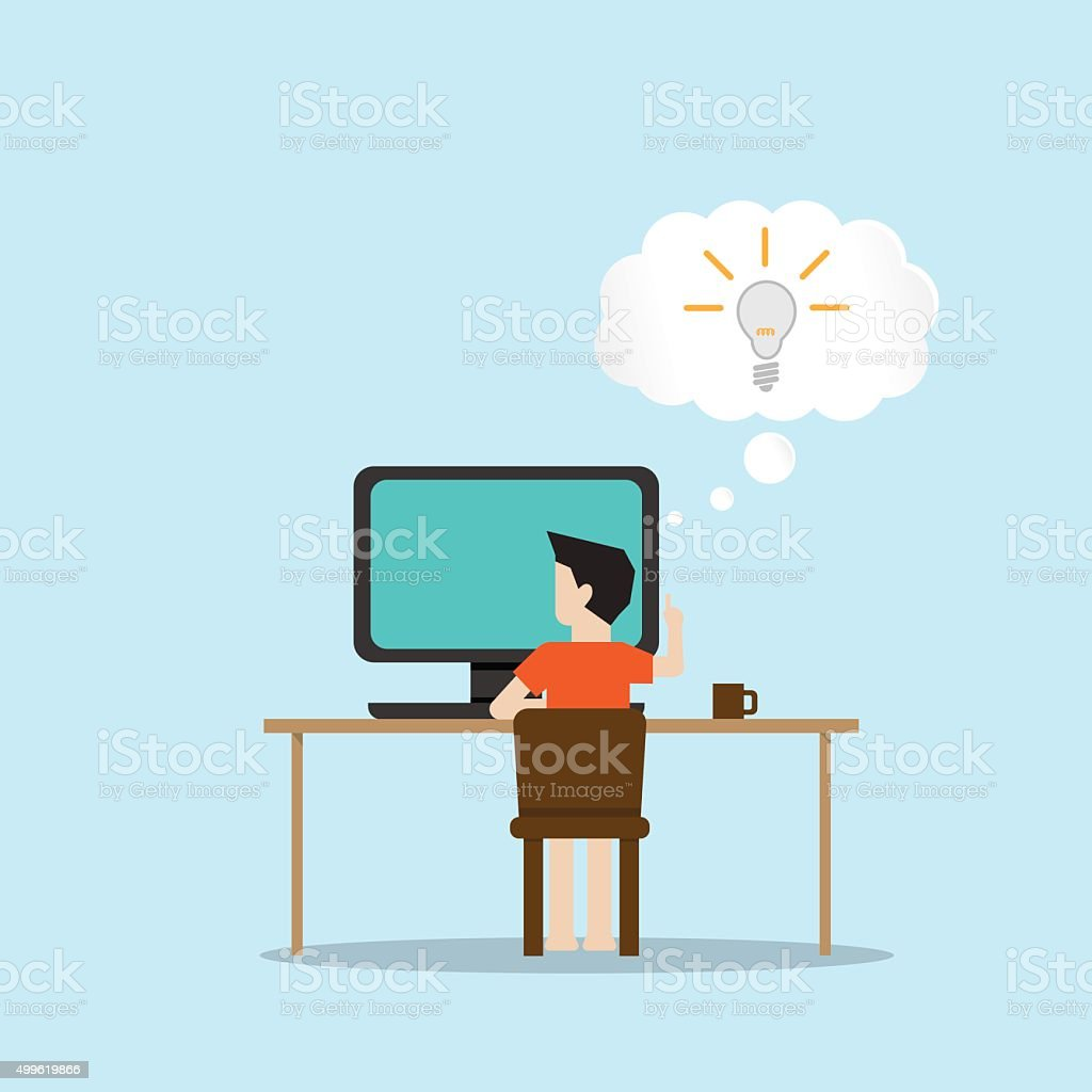 man working with computer get idea vector art illustration