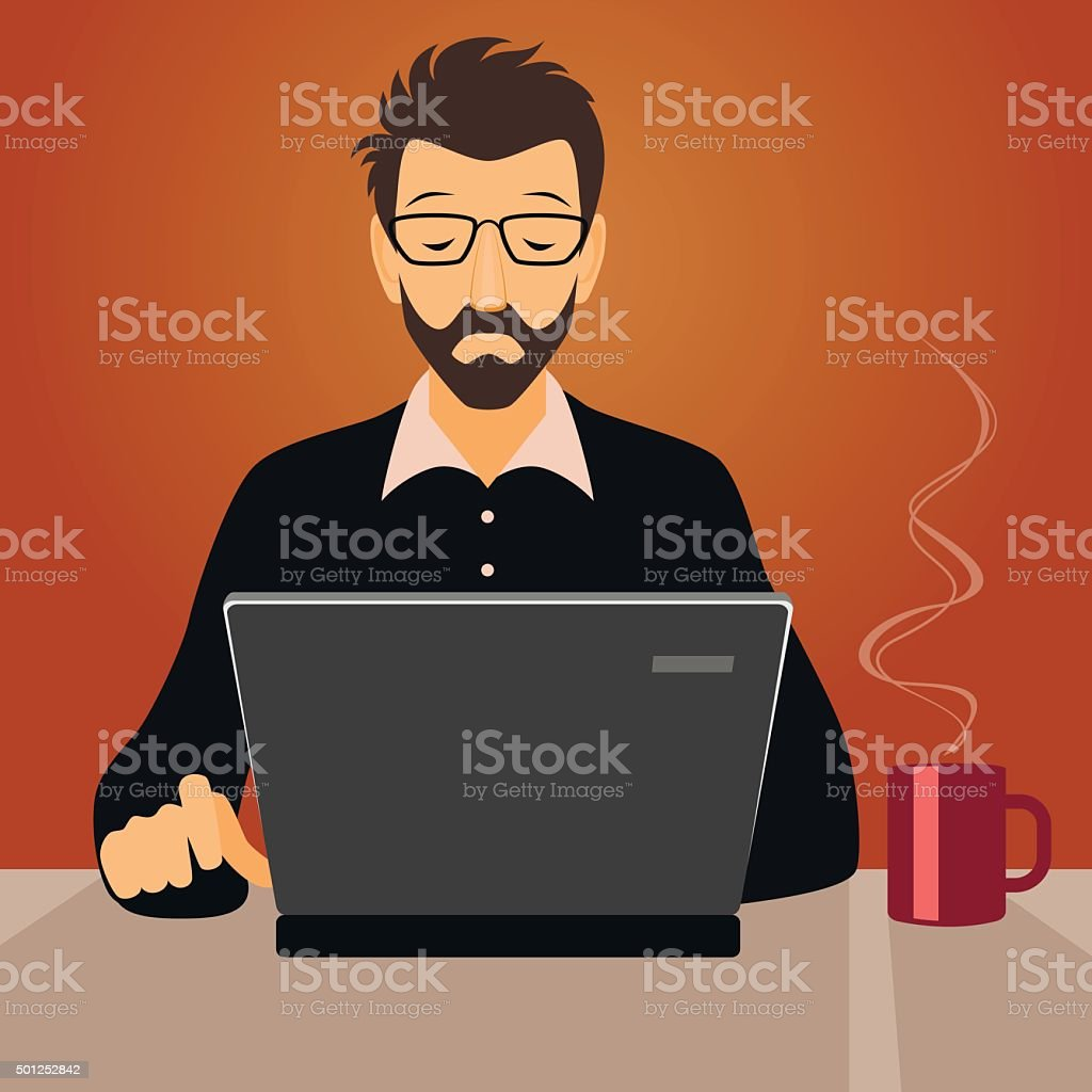 Man working with laptop vector art illustration