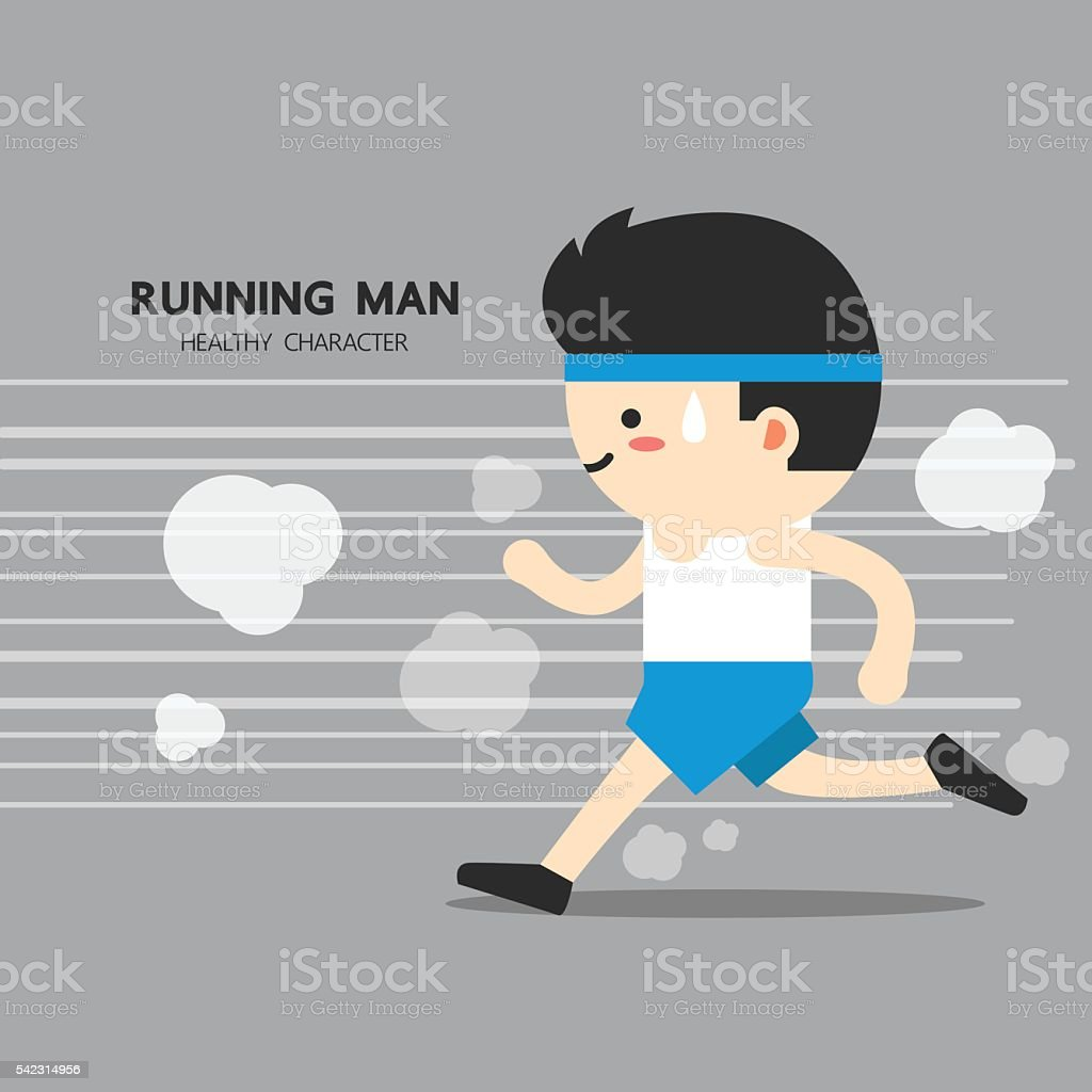 Man workout by jogging. healthy cute character with flat design vector art illustration