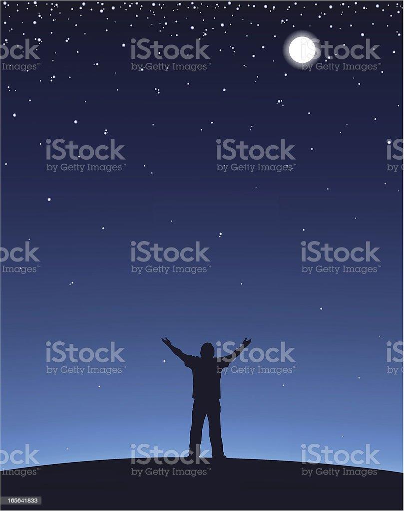 Man Worship vector art illustration