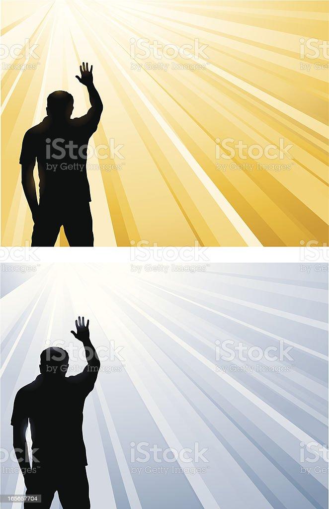 Man worshiping God royalty-free stock vector art