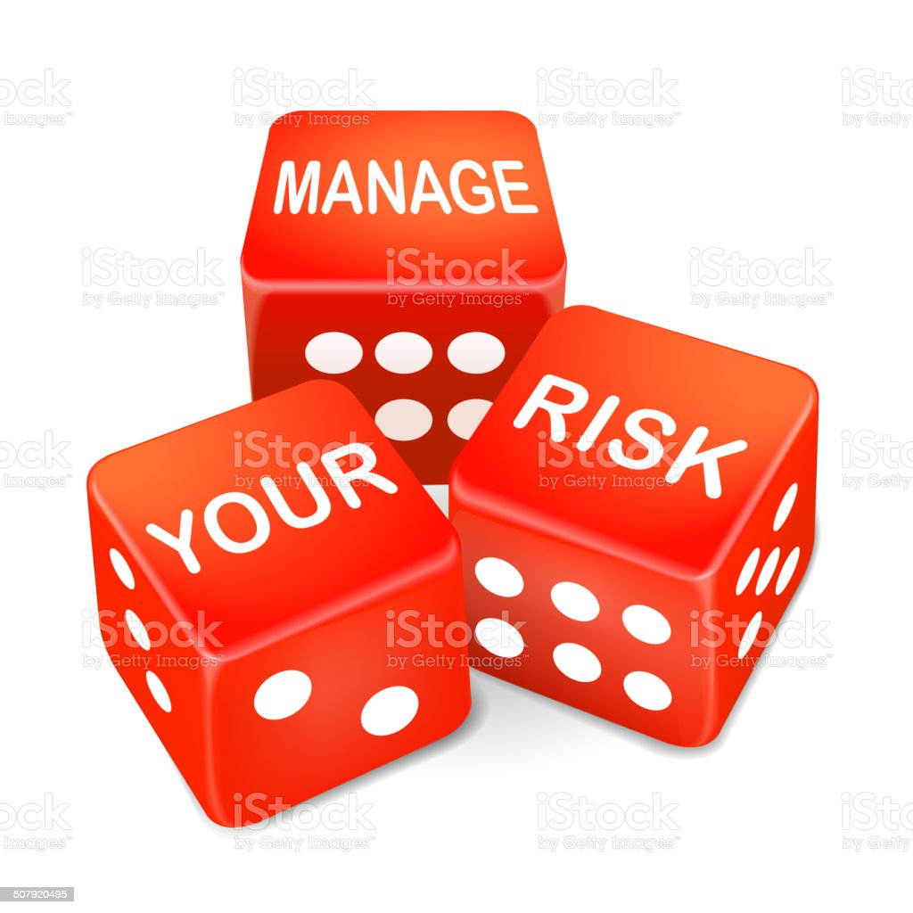 manage your risk words on three red dice vector art illustration