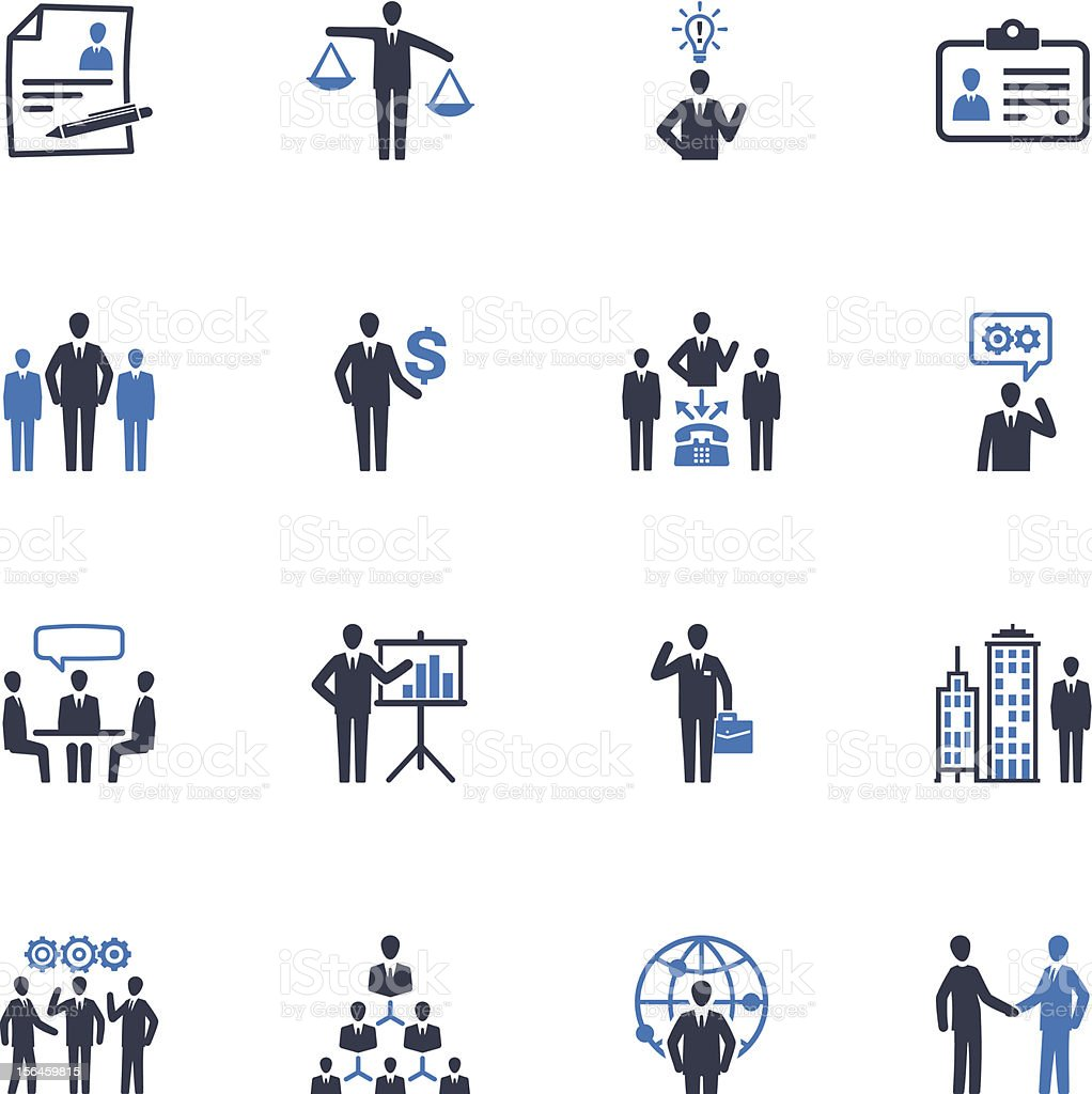 Management and Human Resource Icons - Blue Series vector art illustration
