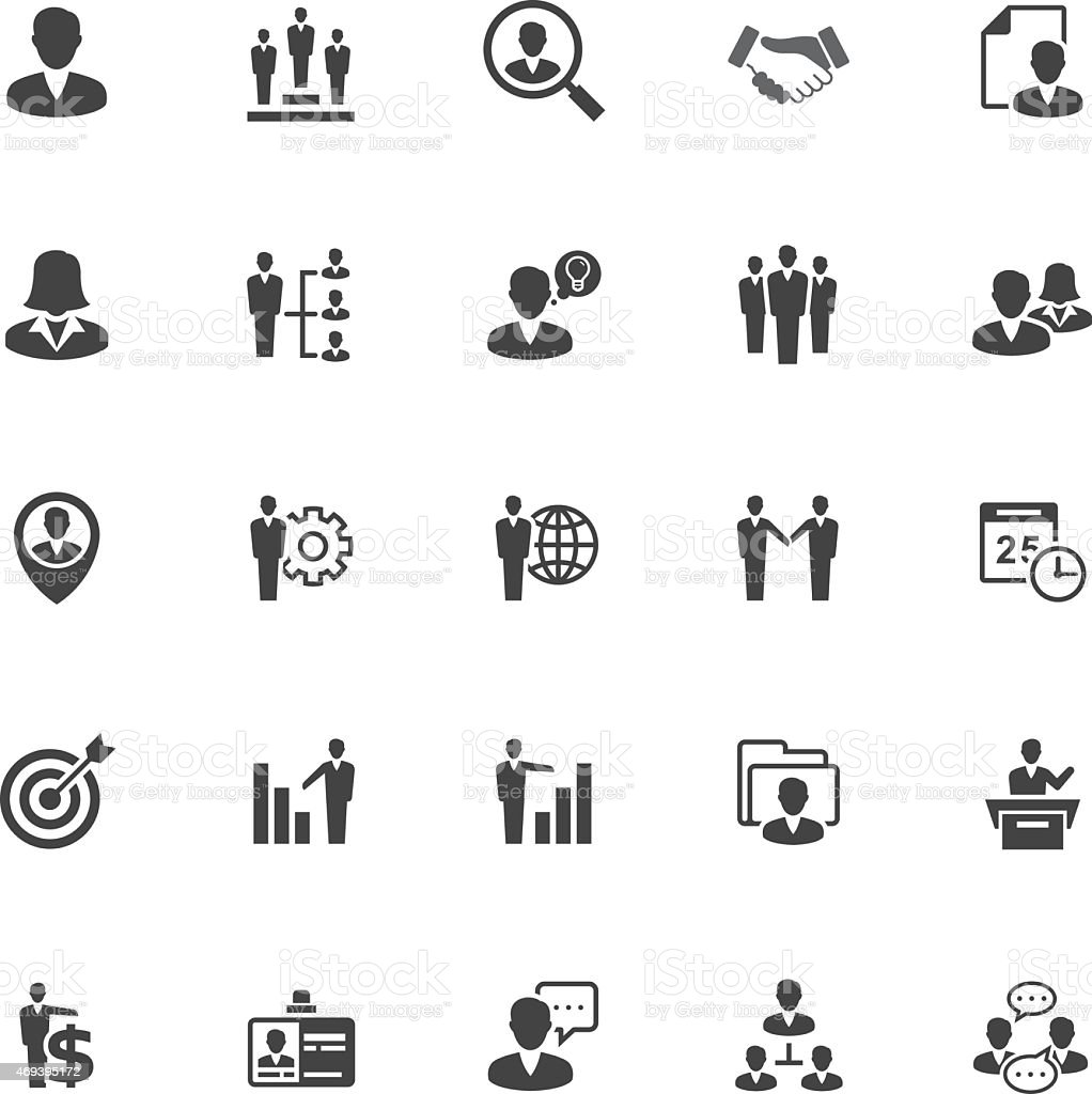 Management and Human Resource Icons on White Background vector art illustration