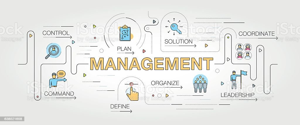 Management banner and icons vector art illustration