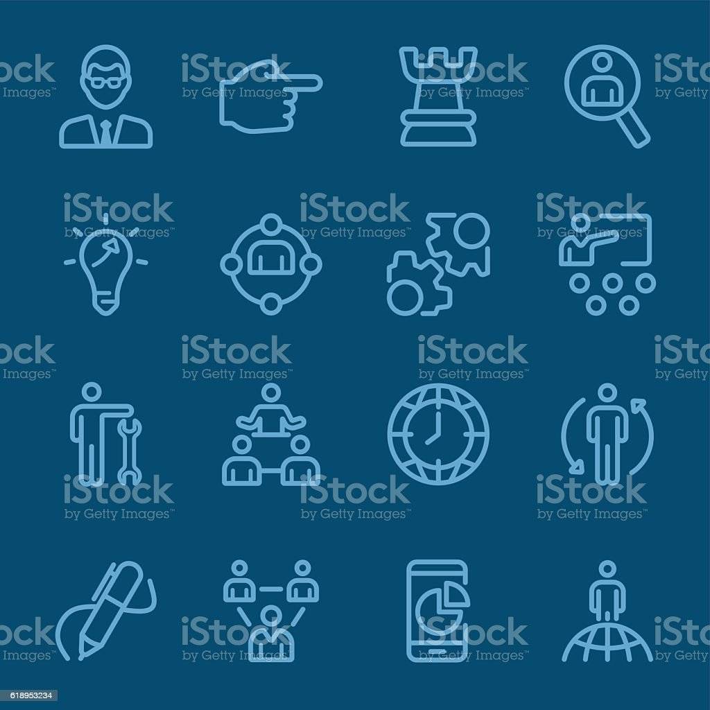 Management blue line icon vector art illustration