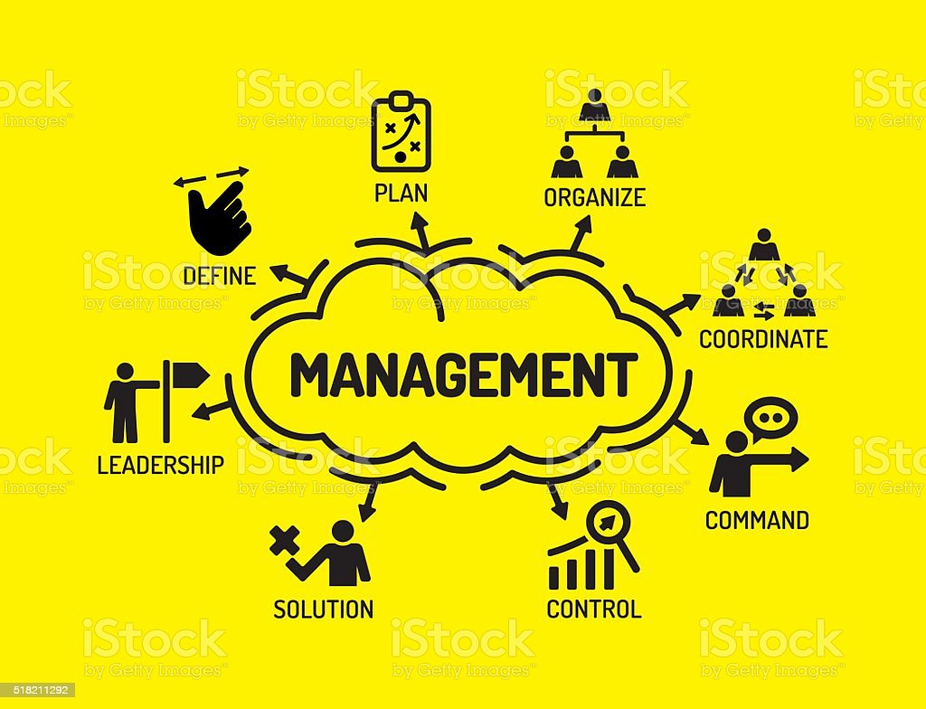 Management. Chart with keywords and icons on yellow background vector art illustration