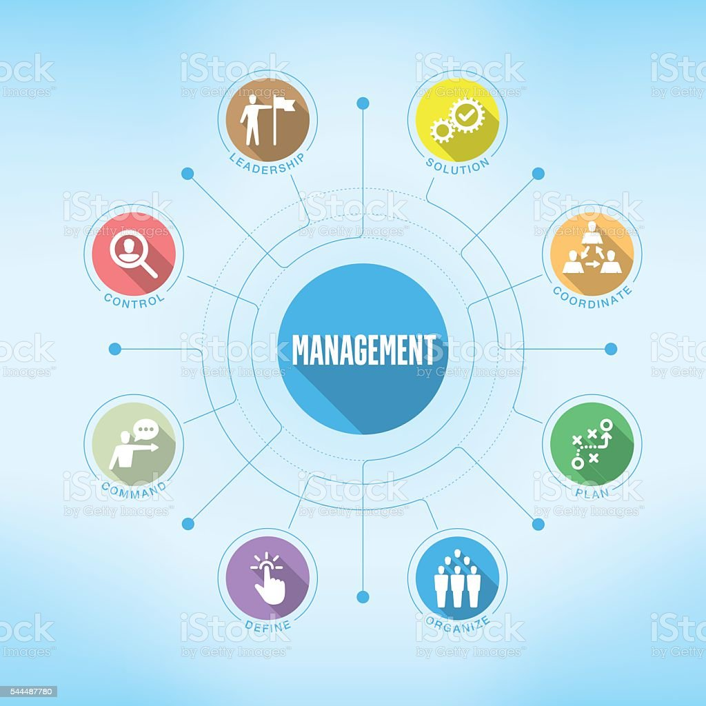 Management chart with keywords and icons vector art illustration