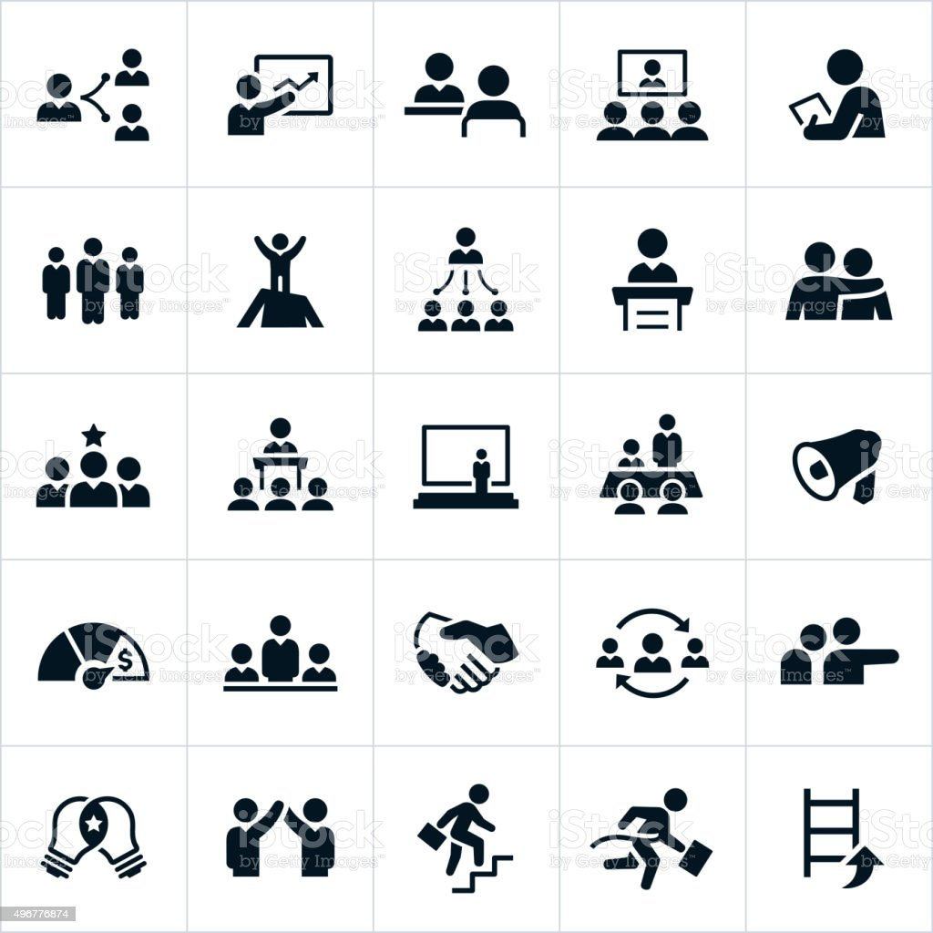 Management Icons vector art illustration