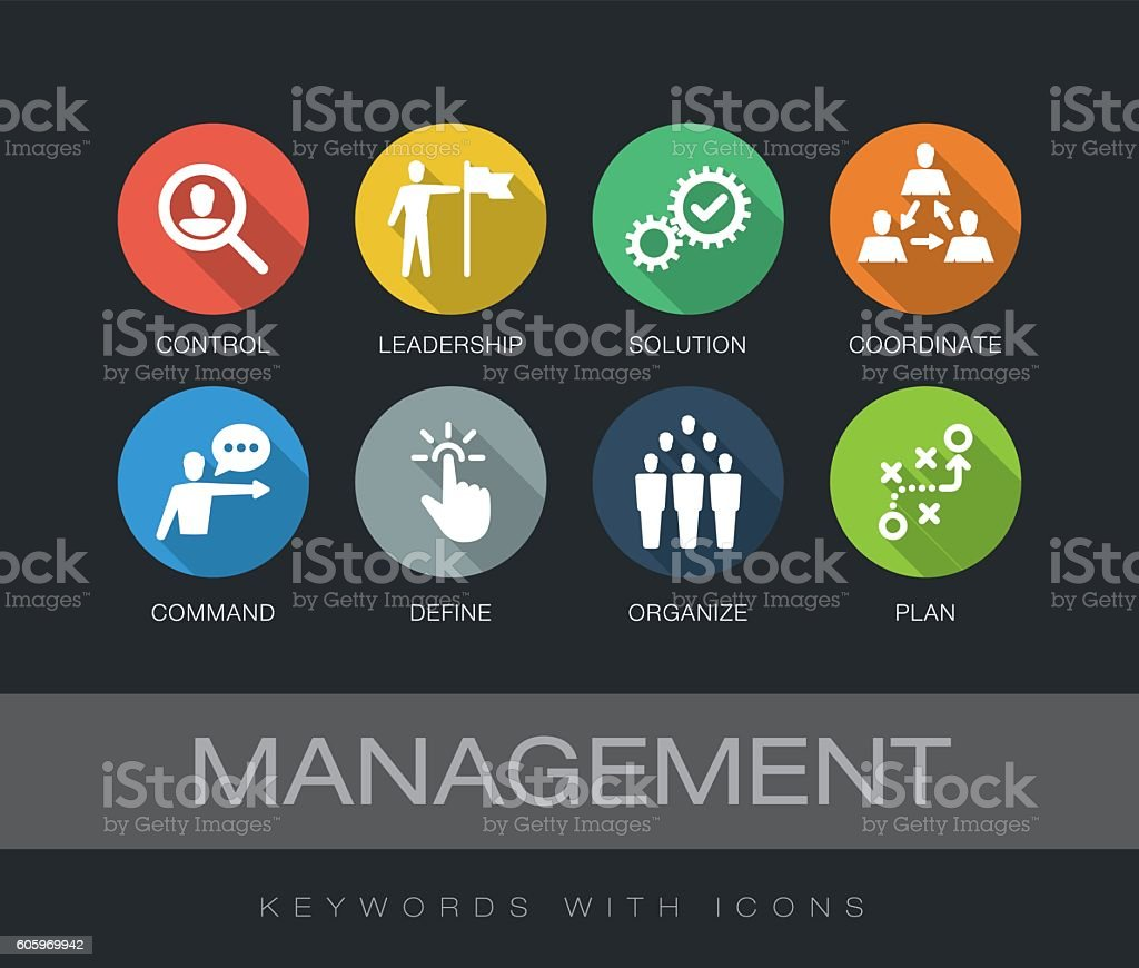 Management keywords with icons vector art illustration