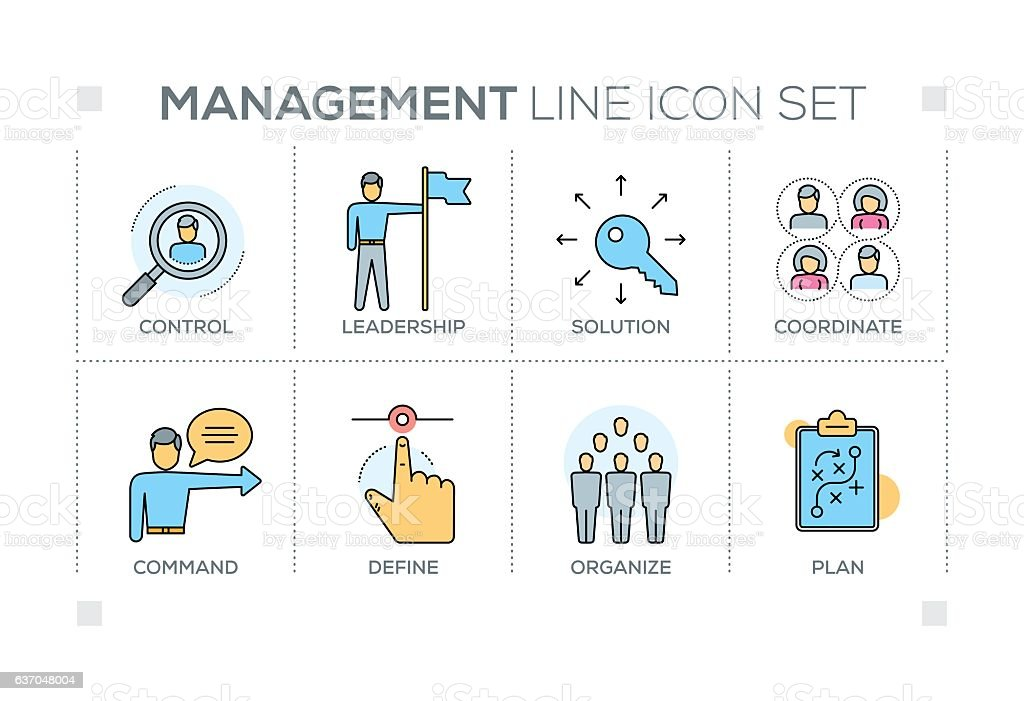 Management keywords with line icons vector art illustration