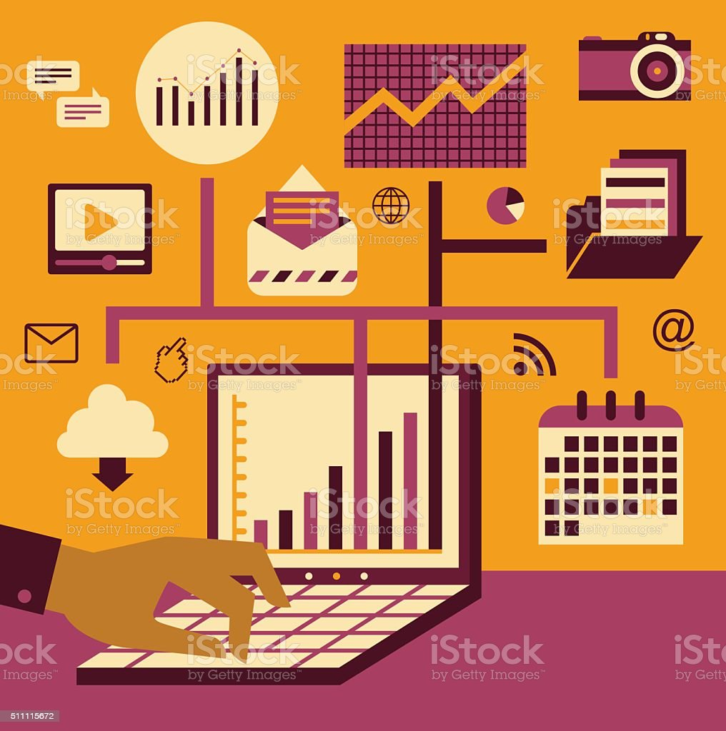 Management & Technology vector art illustration