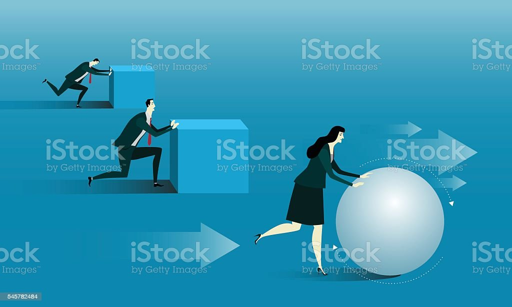 Manager be rolling a ball. vector art illustration