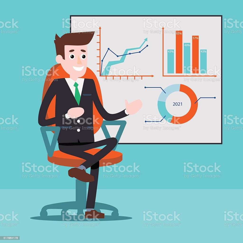 Manager character next to the charts on a whiteboard royalty-free stock vector art