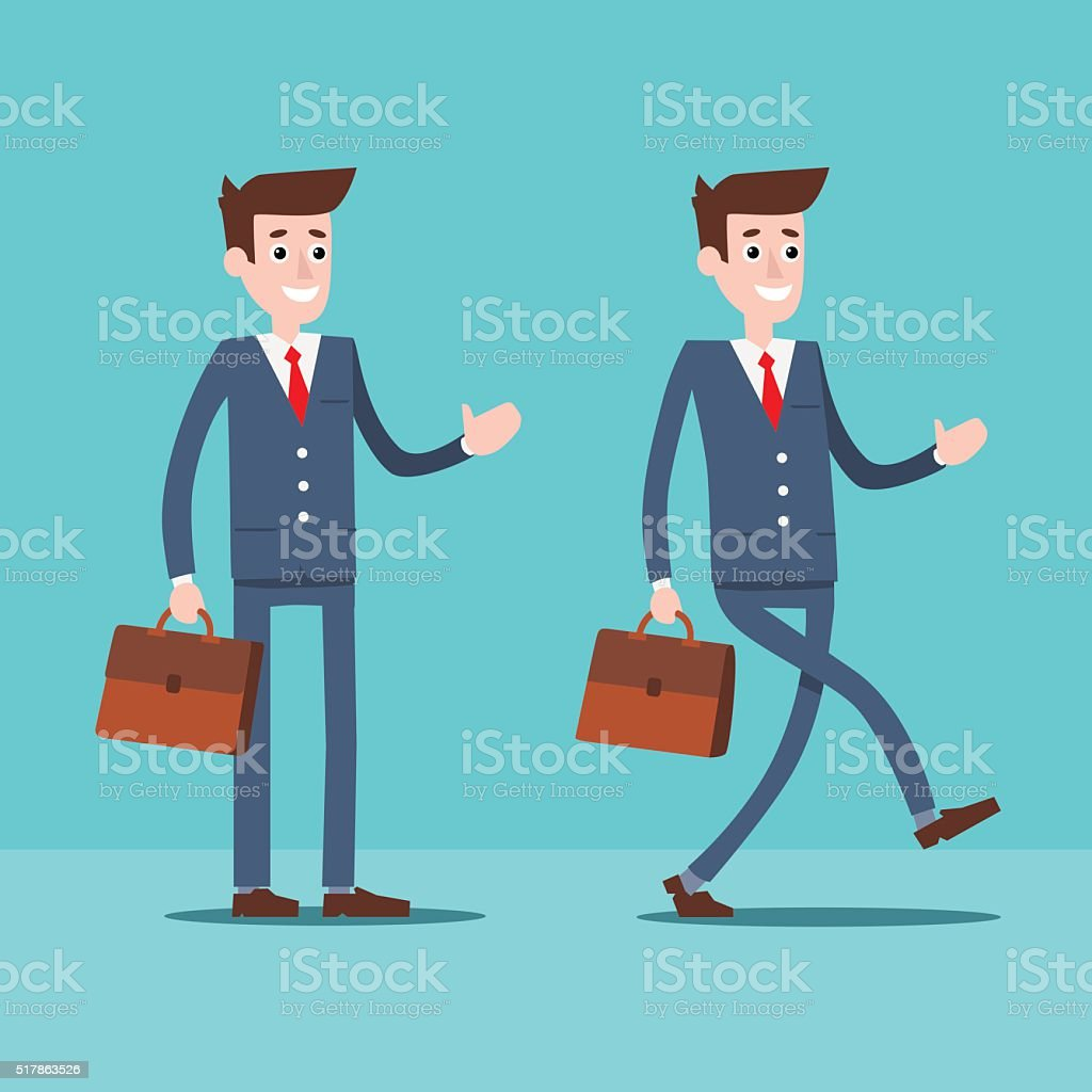 Manager character with a portfolio royalty-free stock vector art
