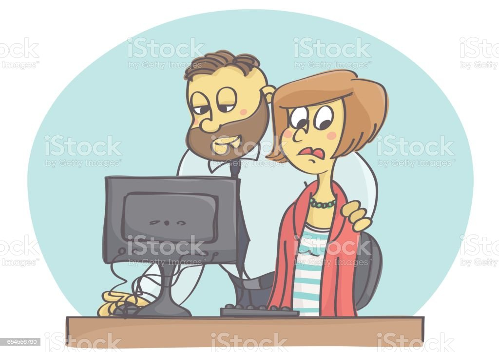 Manager harassing woman at work vector art illustration