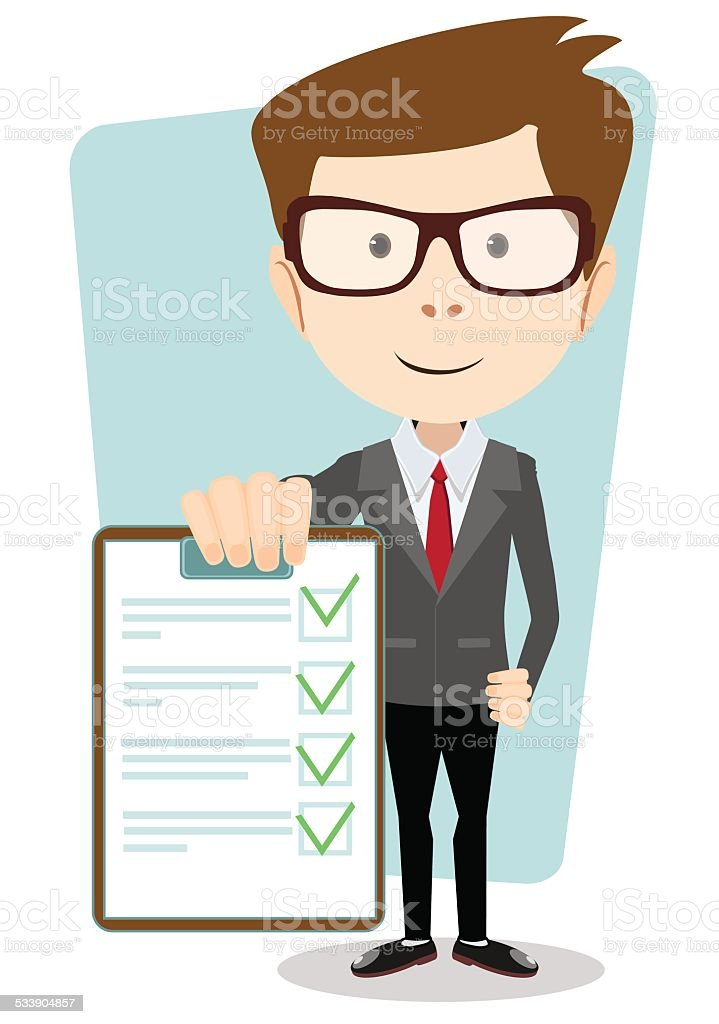 Manager holding the document approved, vector illustration vector art illustration