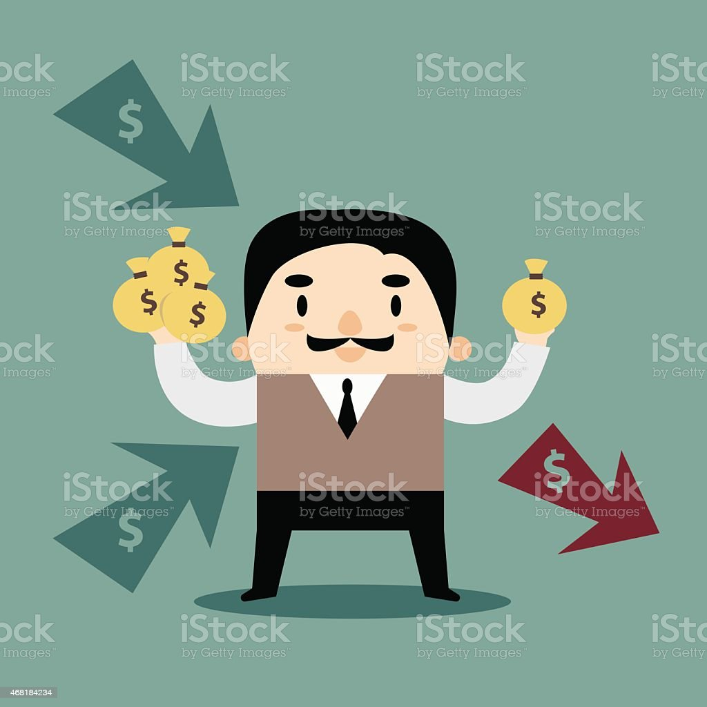 Manager Multi Incomes and Expense Personal Finance vector art illustration