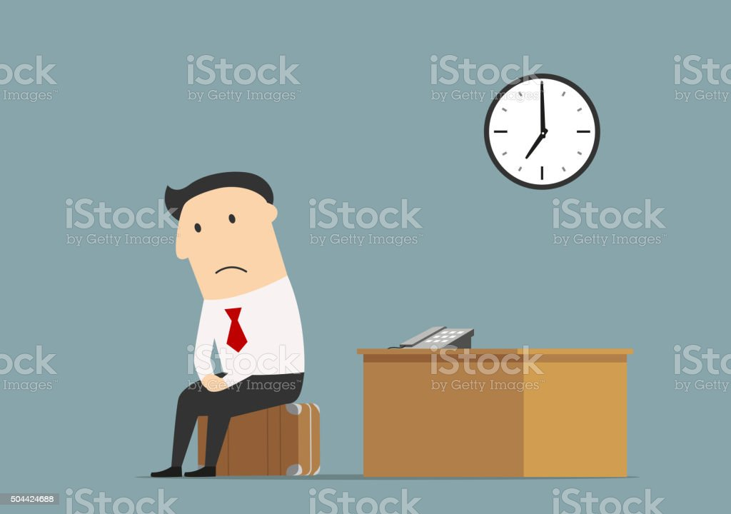 Manager sitting at office after being fired vector art illustration