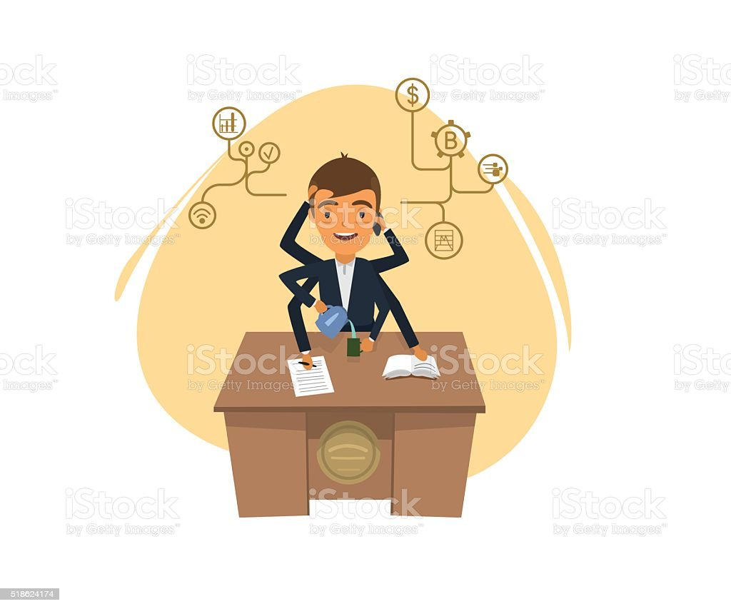 manager with a lot of hands sitting at the table vector art illustration