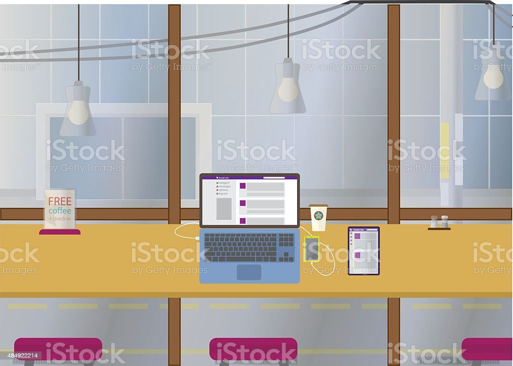 SMM manager workplace vector art illustration