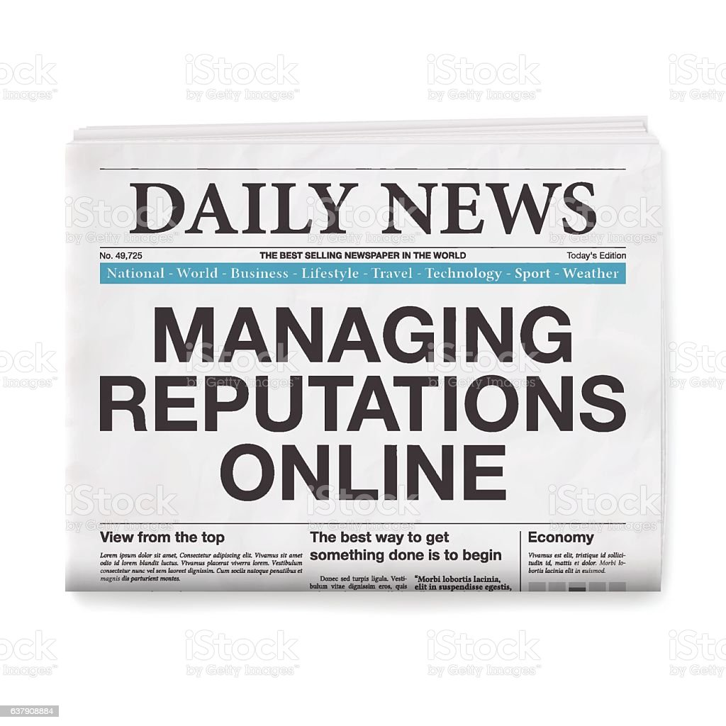 Managing Reputations Online Headline. Newspaper isolated on White Background vector art illustration