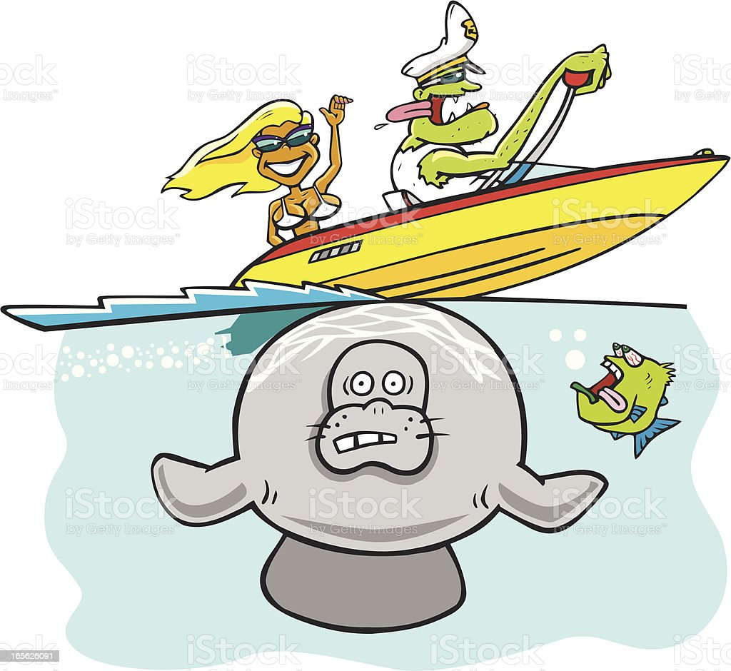 Manatee And Boaters royalty-free stock vector art