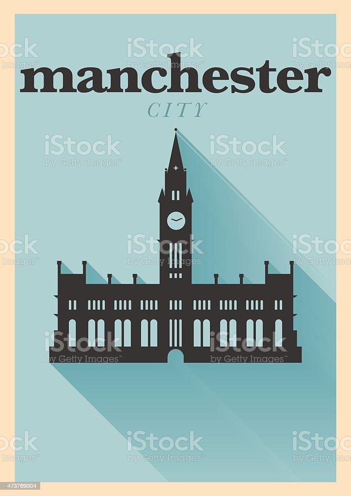 Manchester City Minimal Poster Design vector art illustration