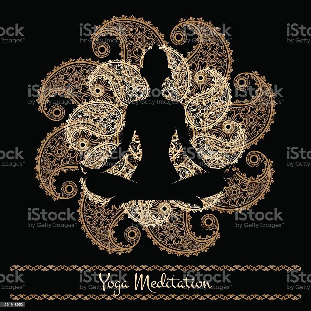Mandala and meditation person yoga background vector art illustration