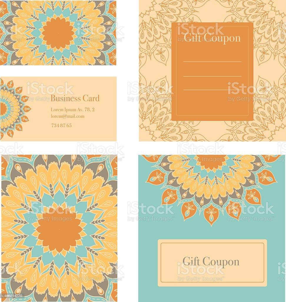 Mandala business set. Business cards, invitation, sale coupon, gift coupon. vector art illustration