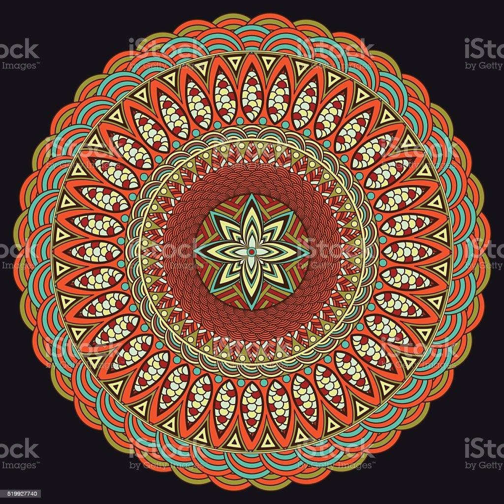 Mandala colorful. Boho style, hippie jewelery. Round Ornament Pattern royalty-free stock vector art