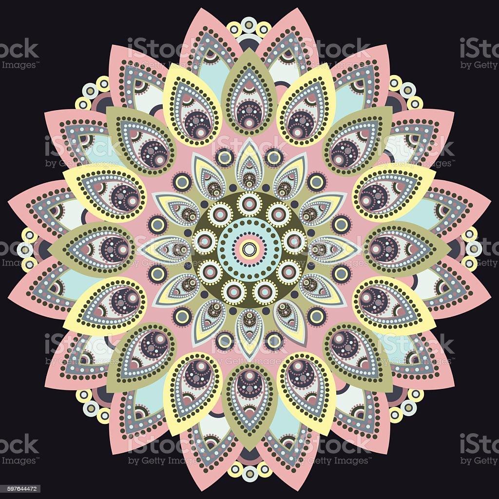 Mandala colorful. East, ethnic design, oriental pattern, round ornament vector art illustration
