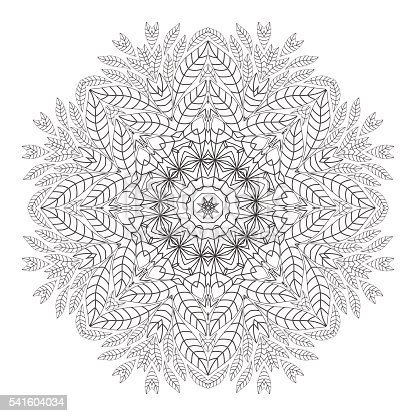 mandala coloring page monochrome oriental pattern vector illustration stock vector art 541604034 istock