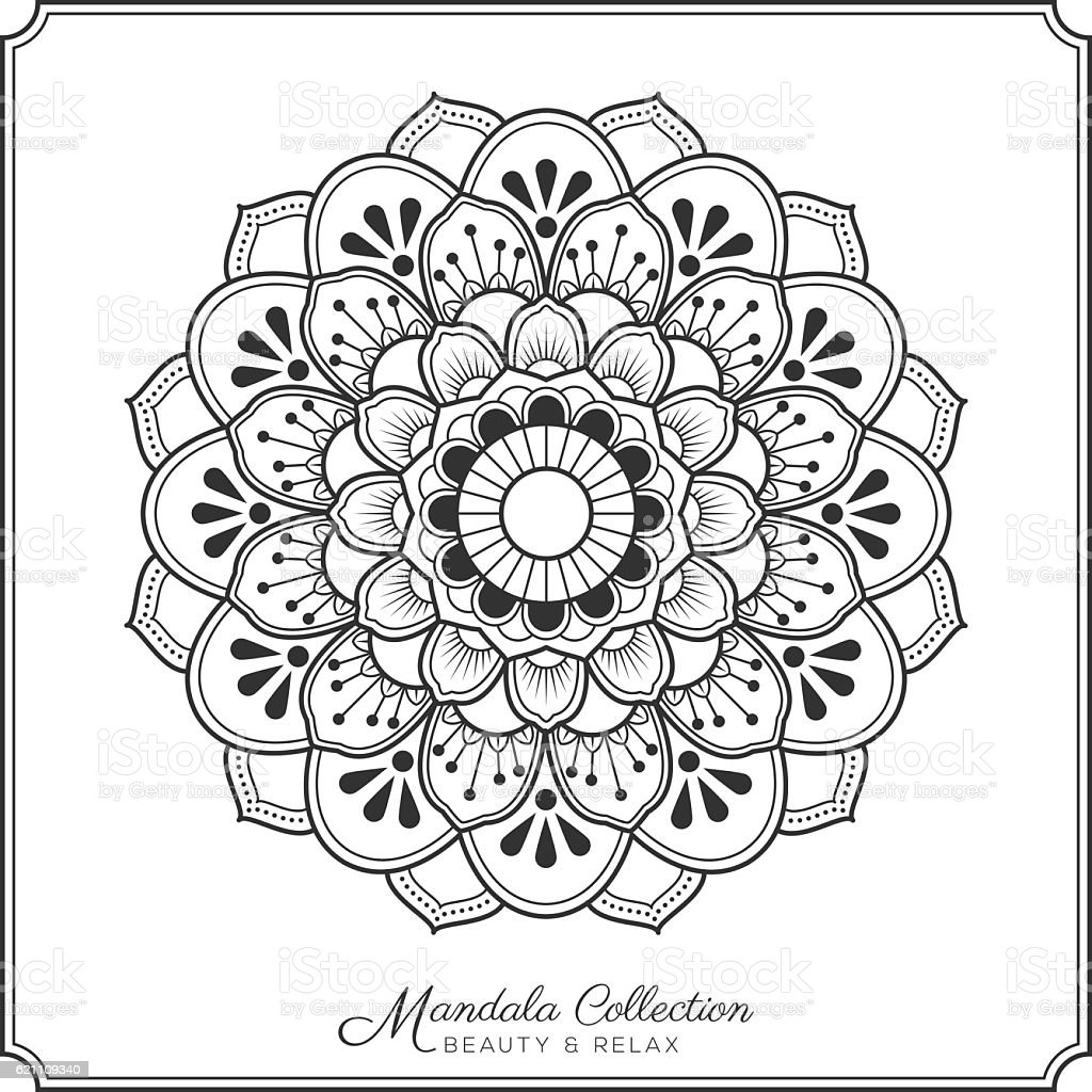 mandala decorative ornament design for coloring page stock vector