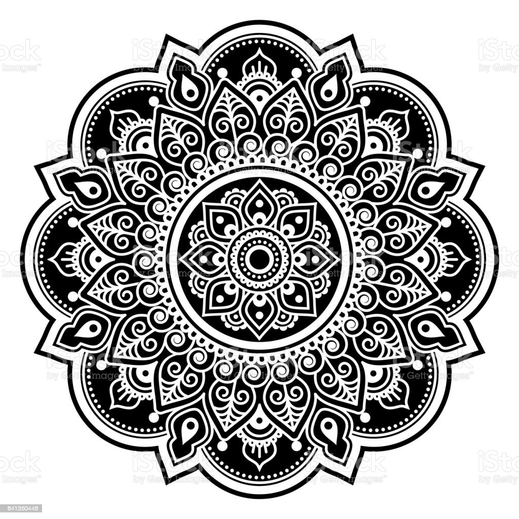 Mandala design, Mehndi, Indian Henna tattoo round pattern or background vector art illustration
