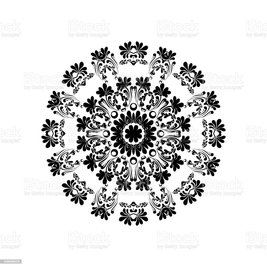 Mandala element with flower. Ethnic ornament isolated on white, can vector art illustration