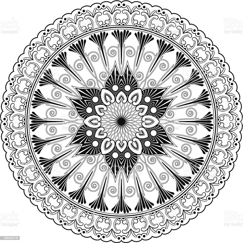 Mandala - Foliate shape royalty-free stock vector art